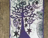 "Midnight Tree Batik Fabric Print Patch - Large Size 10"" x 14"""