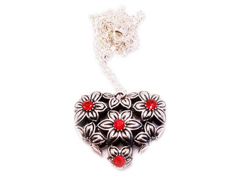 """Floral Heart Pendant 20 """" Chain Pendant,Celestial,Rhinestone,Love,Necklace,Witch,Boho,Gothic"""