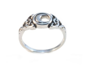 Celtic Moon Sterling Silver Ring,Pagan,Witch,Boho,Gift,Goth,Grunge N2