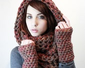 NEW SET fingerless gloves Ombre Cowl Hood infinity scarf Heather red cedar taupe brown
