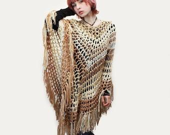Poncho crochet boho gypsy ivory white taupe brown