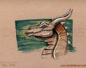 Original Dragon Toned Paper Artwork Fantasy Artwork by Nina Bolen OOAK