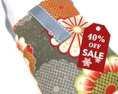 40%off Holiday Sale Padded iPhone 4S 4 5 Smart Phone Sleeve Mini Pouch KIMONO Print Cotton Wall Charger pocket holder with BONUS Wrist Strap