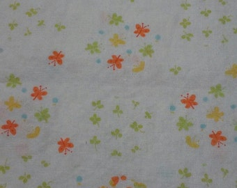 Sweet Butterfly & Floral Printed Cotton - 1 1/2 Yards