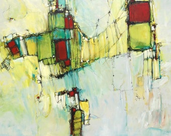 Large abstract painting Artwork painting  modern painting green yellow red Wood panel