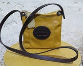 Mustard Leather Shoulder Bag with Black Logo Pocket