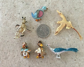 Vintage Bird Pins. 6 Pack
