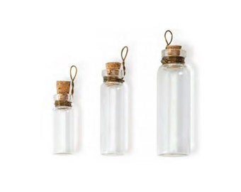 Steampunk Laboratory Bottles, Apothecary Bottles with loop, Jewelry Mixed Media Supplies,