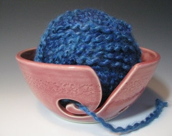 Ceramic Pottery Yarn Bowl Knitting Bowl in Rose Pink with Chattering
