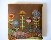 FLASH SALE / 25% off Vintage 60s 70s Flower Garden Embroidered Throw Pillow