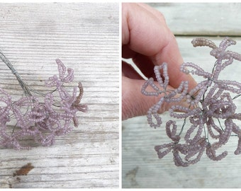 Vintage Antique 1900/1920 French  sheer dusty pink glass beads /  beaded flower bouquet /10 flowers /French beadwork