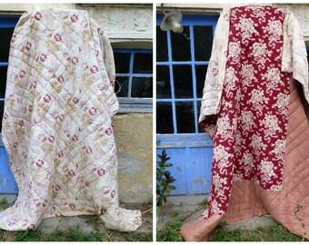 Vintage Antique 1890/1900 French floral Provence quilt boutis bedspread coverlet  eiderdown