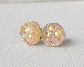 Peach Druzy stud earrings / faux druzy / Aurora borealis / AB / girlfriend gift / gift for her / hypoallergenic earrings / surgical steel