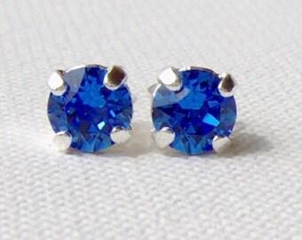 Sapphire rhinestone stud earrings / Swarovski / 6mm / birthday gift / surgical steel / September birthstone / gift for her / blue earrings