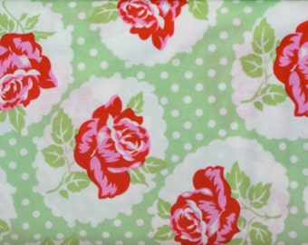 Tanya Whelan Fabric SALE - Delilah, Lulu Rose, Green Cotton Fabric - HALF YARD