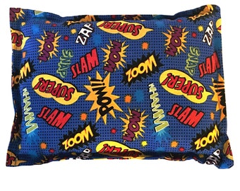 "Microwaveable CORN Heating Pad, 8x11"", Hot Cold Pack, Super Hero Fabric"