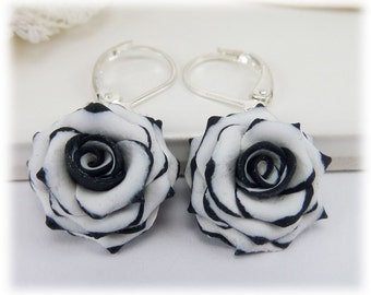 Black Tip White Rose Petal Earrings