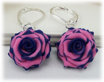Blue Tip Pink Rose Petal Earrings