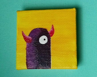 "2"" x 2"" Acrylic Monster painting"
