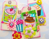 Bold and Bright Colorful Sewn Cupcake Flower Tags Set of Four