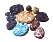 Ceramic Pendants Beads On Sale-11 Rustic Primitive Large Small Stoneware Charm Talisman Mix Jewelry Component Embellishment