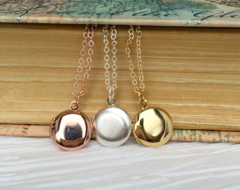 Mini  Locket Necklace Gold Locket Mothers Necklace Bridesmaids Gift  Photo Locket Necklace