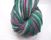Hand painted yarn, soft merino wool, lace weight greens pink 100g