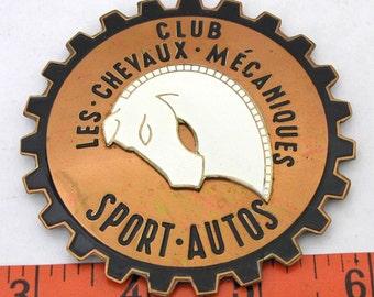 Vintage Enamel Auto Club Badge, Les Chevaux Mecaniques Auto Club, Automobile Car Emblem, Horse Auto Badge, Auto Badge, Vintage Auto Badge