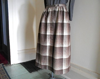 Ombre plaid wool skirt maxi, dirndl, ombre taupe cream - Small waist 26