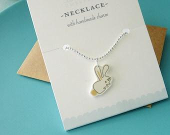 Tiny Bunny Rabbit Charm Necklace : Stocking Stuffer, Gifts Under 10, Friendship Necklace