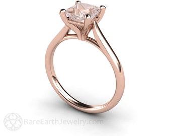 Morganite Ring Princess Solitaire Morganite Engagement Ring 14K or 18K White Yellow Rose Gold Pink Gemstone Ring