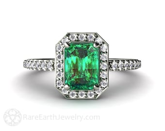 Platinum Emerald Engagement Ring Diamond Halo Emerald Ring May Birthstone Custom Wedding Ring