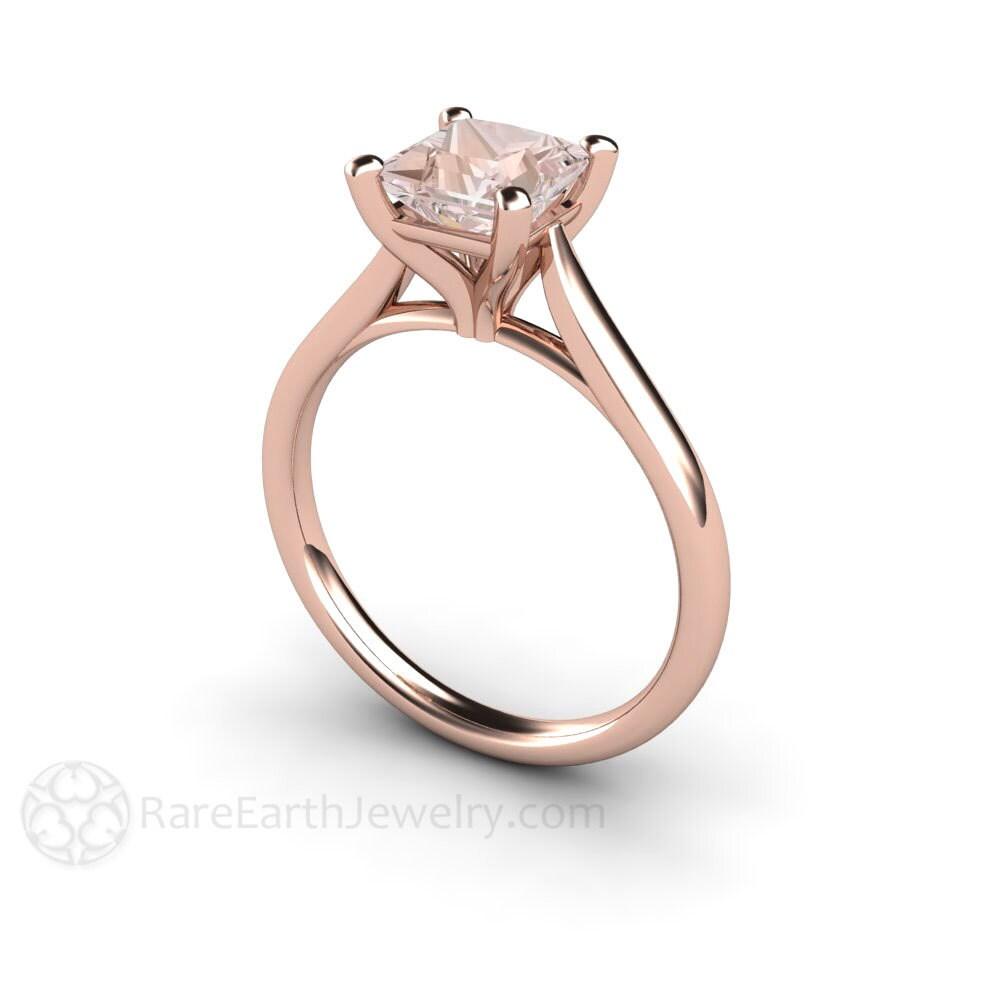 morganite ring princess solitaire morganite engagement ring