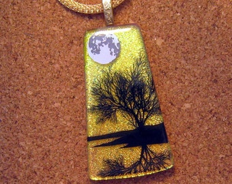 Dichroic Pendant - Dichroic Tree Scene - Dichroic Necklace - Fused Glass Pendant - Dichroic Jewelry - Fused Glass Jewelry - Scenic Pendant