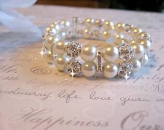 Double Strand Chunky Pearl Bracelet - Pearl and Rhinestone Cuff Bridal Bracelet -Wedding Bracelet - Bridal Bracelet