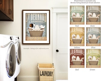 ST bernard saint bernard dog laundry basket company laundry room artwork signed artists giclee print by stephen fowler geministudio