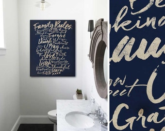 Family Rules typography graphic artwork on gallery wrapped canvas by Stephen Fowler