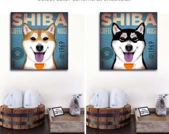 Shiba Inu dog Coffee Company illustration graphic art on gallery wrapped canvas by stephen fowler