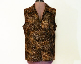Vintage Early 80s Leopard Print Shirt, Blouse, Zipper Front, Casual, Animal Print Top, Earth Tones, Sleeveless Blouse, Funky, Rocker, Vest