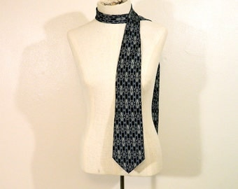 Vintage 90s Designer Tie, Stafford, Silk Necktie, Navy, Grey, White, Geometric, Abstract, Wide Tie, or use as a scarf!
