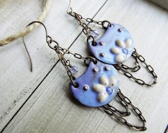 Enameled Chain Trapeze Chandelier Brass Swarovski Crystal Dangle Earrings - Petal Soft Floral - Blue Lavender Cream