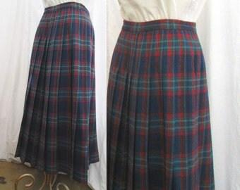 Pendleton Vintage Plaid Skirt 90s Pleated Teal Blue  pleats vintage blue Pleated Skirt Preppy classic M