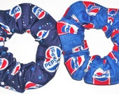 2 Pepsi Cola Fabric Hair Scrunchies by Sherry Ties Scrunchie Red White Blue