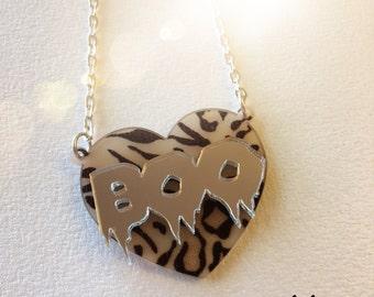 BOO HEART animal print  n silver mirror laser cut acrylic necklace