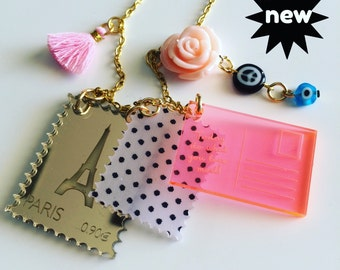 PARIS Postcrossing, stamps, postcard laser cut necklace