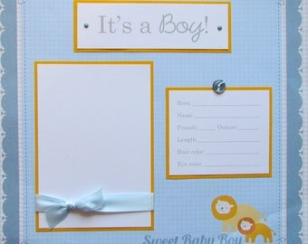 IT'S A BOY baby 12x12 Premade Scrapbook Page