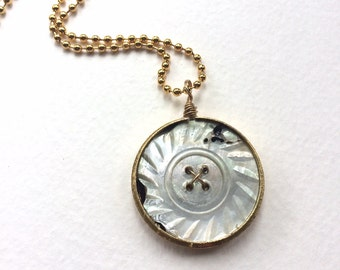 Button Pendant Necklace: Repurposed Pocket Watch with Rustic Old Button