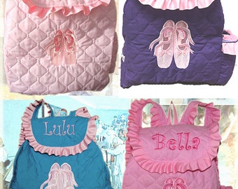 BALLET Backpack with Embroidered Toe shoes Monogrammed and CUSTOM HANDMADE for Toddlers and Girls