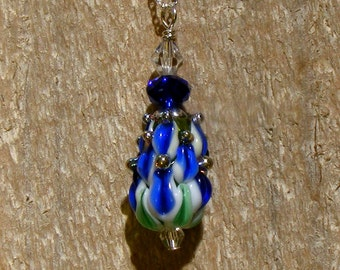 FLOWER IRIS, Crocus Handmade Lampwork Glass Bead Sterling Silver Necklace Nc2414, Swarovski,  Collectable by Lynn SRA