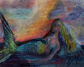 original art  aceo drawing mermaid rainy scene